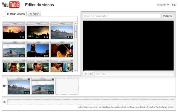 Visão geral do editor - YouTube editor online edição video 02